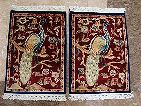 Awesome Peacock Tree of Life Birds Rectangle Area Rug Wool Silk Hand Knotted Carpet pair (2 x 1.6)'