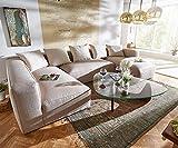 DELIFE Couch Oceana Beige 355x190 cm Ottomane Links Modulsofa mit Kissen Wohnlandschaft
