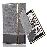 Cadorabo Hülle für Nokia Lumia 1520 - Hülle in GRAU SCHWARZ – Handyhülle mit Standfunktion und Kartenfach im Stoff Design - Case Cover Schutzhülle Etui Tasche Book