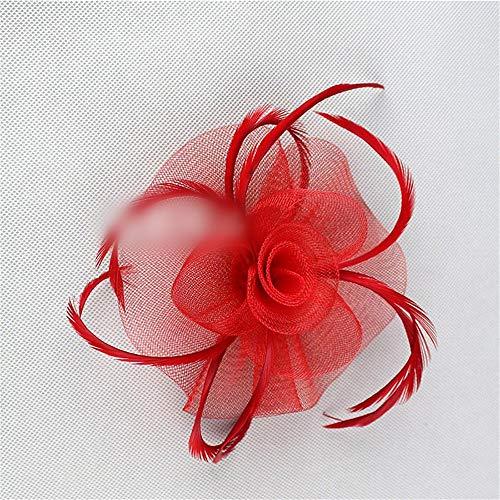 JOYIYUAN Federn-Kopfschmuckclip aus Braut-Tiara-Haarnadel-Brosche für Kinder (Farbe : Red) (Red Kostüme Flapper)