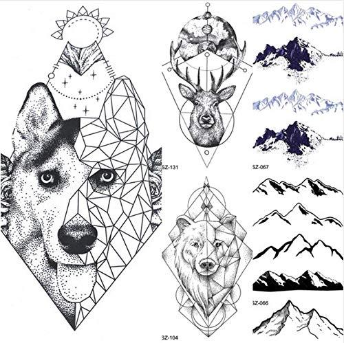 ruofengpuzi Adesivo tatuaggioTótem geométrico Perro Lobo Brazo Femenino Arte del Tatuaje Temporal...