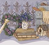 Retro Art Azul violeta flores jardín cerca galpón herramientas casa fondos frontera diseño Retro, rollo de 15' x 7,75 ''