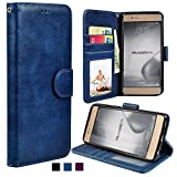Huawei P9 Hülle, Racksoy Premium Handytasche Schutzhülle Magnetverschluss Kartenfach Hülle aus hochwertig verarbeitetem Kunstleder für Huawei P9 (Blau)