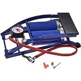 Cartrend 10942 pompka nożna, konstrukcja z podwójnym cylindrem, pompa powietrza z ciśnieniomierzem, adapterami wymiennymi, ci