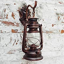 Injuicy Lighting E27 Vintage Retro Linterna Hierro Farol de Luces de Pared Queroseno Lámparas Apliques Bar de Pasillo Lámpara de Pared Kerosene Lámpara de Aceite (Cobre)