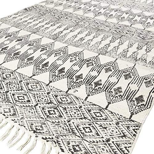 Eyes of India - Schwarz Weiß Baumwolle Block Druckfläche Akzent Dhurrie Teppich Hand Geflochten Flach zu Weben Boho Chic Indische Böhmisch - Weiß, 5 X 8 ft. (150 X 243 cm) - Schwarz Akzent Teppich