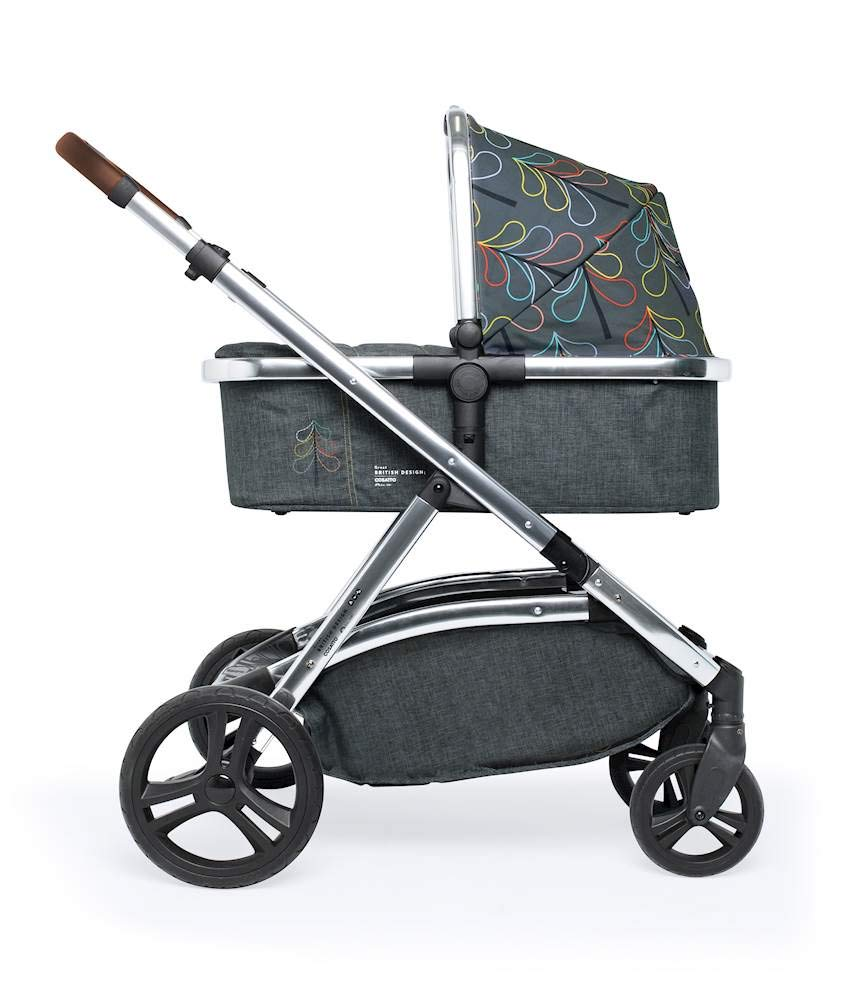 Cosatto Wow XL 3-in-1 Pram and Pushchair, Suitable from Birth - 25 kg, with Tandem Mode and Buggy Board- Nordik Cosatto The flexible family unit, Wow XL has the capability, straight out of the box, to be used as a single child travel system (3-in-1) or as a double/tandem for an older sibling too, with no need to buy any extras (box includes: 1 x Carrycot and 1 x Seat unit) The spacious carrycot is comfy, with extra padded mattress and apron; easy to manoeuvre with one handed pushbutton carrycot release; swap the from-birth carrycot to reversible pushchair seat when they're ready to sit up; the single pushchair mode supports up to 25 kg so your toddler can use it for even longer; with the added ease of one-handed seat unit recline and integrated calf support; the fully extendable hood with visor is 100 UPF and has a peep hole to keep an eye on little ones High-quality craftsmanship; from woven textured fabrics and discoverable details, to gleaming chrome chassis from significant leatherette handle to exquisite embroideries and felt appliques; each design comes with two cuddly travelling companions, straight from Cosatto's famous storytelling pattern; when you explore together, anything can happen 1