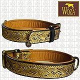 Woza Premium HUNDEHALSBAND DREI FARBIG 3,3/60CM Flowers Gold Handmade Vollleder Rindleder Nappa Collar