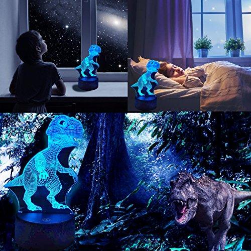 Dinosaurier 3D Nachtlicht Touch Tisch Schreibtischlampe von WUHUHAI, 3D Optische Täuschung Tisch Schreibtischlampe mit 7 Farblicht, 3D Licht für Schreibtisch, Bücherregal oder Nachttisch (Dinosaurier)