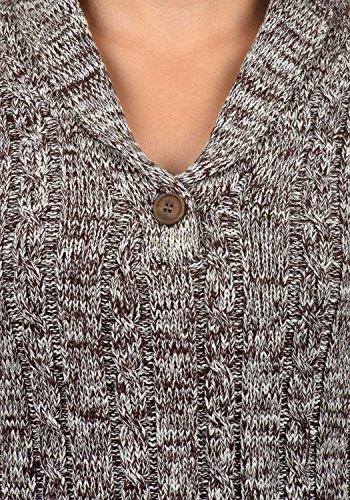 DESIRES Philis Damen Strickpullover mit Schalkragen aus hochwertiger 100% Baumwolle Meliert Coffee Bean (5973)