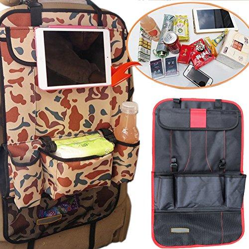 Auto Oragnizer Aufbewahrungstasche Autositztasche Rückenlehnenschutz Rücksitz Multipocket mit iPad Fach Kinder Rücksitz-Tasche(Schwarz Rot)