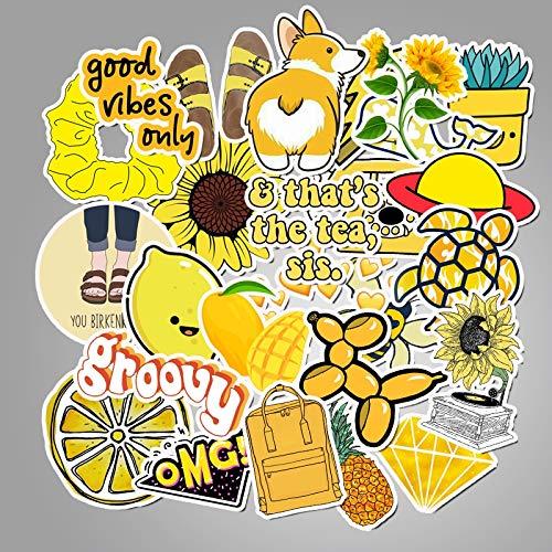 VAWAA 50 Pcs Cartoon Gelb Vsco Aufkleber Für Chidren Spielzeug Wasserdichtaufkleber Zu DIY Koffer Laptop Fahrrad Helm Auto Aufkleber
