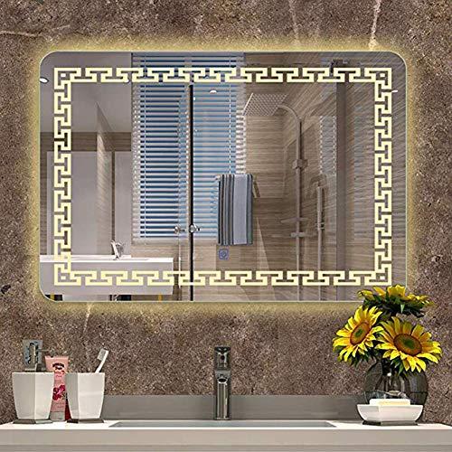 Led dekorative explosionsgeschützte Spiegel Wandmontage mit Rechteck Badezimmer beleuchtet weiß/warmes Licht Touch-Schalter + Defogging, 60x80cm