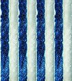 Arsvita Flausch-Vorhang, viele Variationen, Größe: 56x185 cm, Farbe: dunkelblau-weiß