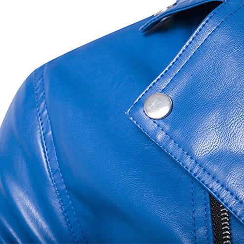 Newbestyle Homme L'automne et l'hiver Cuir Veste Moto Manteau Veste Casual Locomotive Froid Cuir Veste Bleu