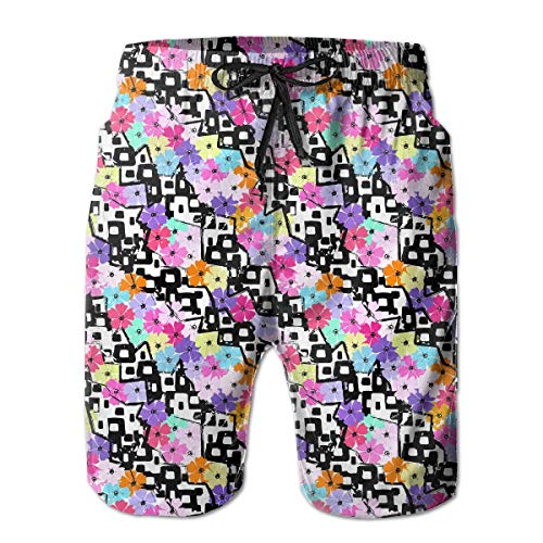 KLYDH Abstract Floral Pattern Mens Boardshorts Quick Dry Swimming Shorts,Size:X-Large -