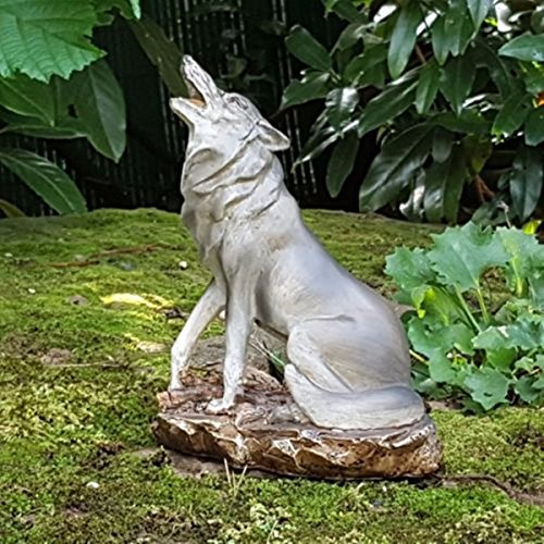 Mui Garten Dekor Heulender Wolf Deko Figur Wölfe Isegrim Wildnis Wildlife  Raubtier Alaska Canada Garden Decor