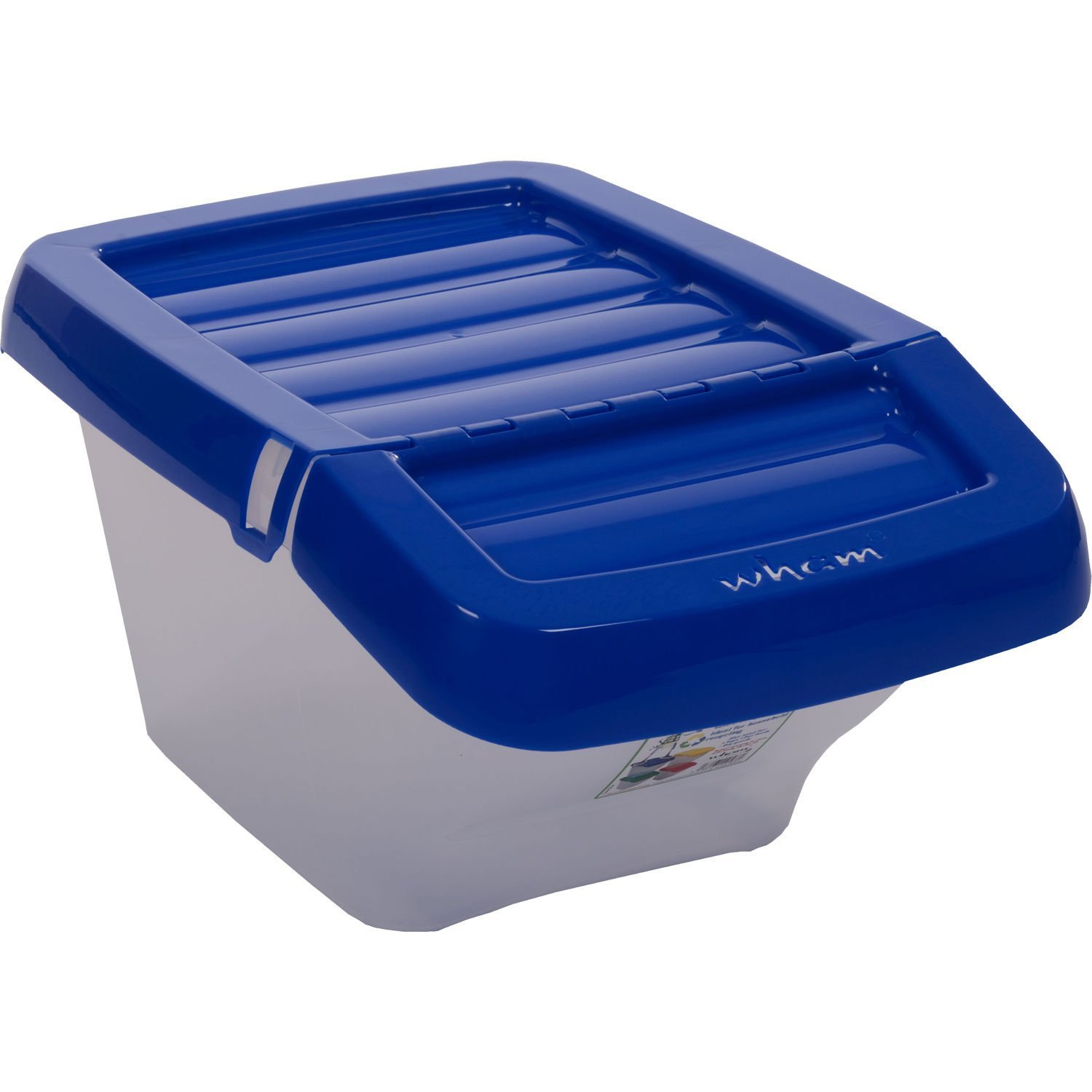 30-LITRE-STACKABLE-RECYCLING-CLEAR-BASE-COLOUR-CODED-PLASTIC-BINS-WITH-HINGED-LIDS