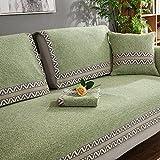 WYSMao Volltonfarbe Sofa Decken,Anti-rutsch,Möbel Protector, Gestrickte Decke Anti-rutsch All-Inclusive-Couch Cover werfen für 1 verdicken,2,3,4 Kissen abdeckungen-Grün 90x90cm(35x35inch)