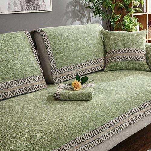 WYSMao Volltonfarbe Sofa Decken,Anti-rutsch,Möbel Protector, Gestrickte Decke Anti-rutsch All-Inclusive-Couch Cover werfen für 1 verdicken,2,3,4 Kissen abdeckungen-Grün 110x180cm(43x71inch) -