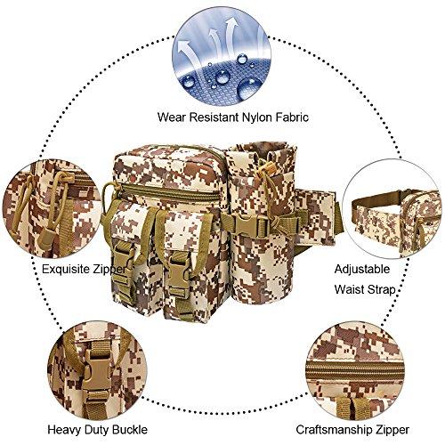 Tactical Waist Pack mit Wasser Flaschenhalter, wasserdicht multifunktional Aufbewahrung Military Outdoor Army Taille Fanny Pack für Radfahren Camping Wandern Jagd Angeln Desert Digital