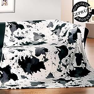 Ouatine flanelle super soft-couverture/plaid-nesh24/150 x 200 cm/vache/noir/gris/blanc