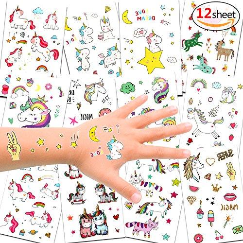 Konsait Einhorn Tattoos Set, Einhorn & Regenbogen temporäre Tattoos Kinder Aufkleber Sticker für...