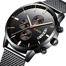 Relojes Hombre Moda Reloj Cuarzo analógico Marca Lujo LIGE Reloj de Pulsera clásico para Hombre Acero