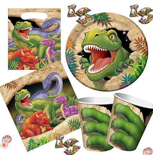Preisvergleich Produktbild Partynelly® Für 8 Kinder Partyset DINOSAURIER / T-REX mit //16x Dino-Eiern// Teller, Becher, Servietten, Kindergeburtstag, tolle Mottoparty, Dinoparty