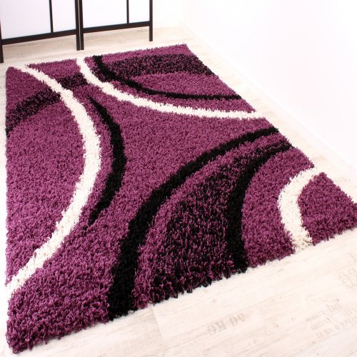 Shaggy Carpet High Pile Long Pile Patterned in Purple Black White, Size:230x320 cm