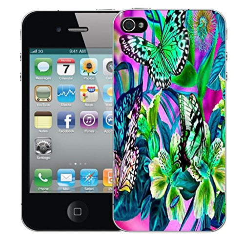 Mobile Case Mate iPhone 4s clip on Dur Coque couverture case cover Pare-chocs - inferno skull blue Motif in the garden