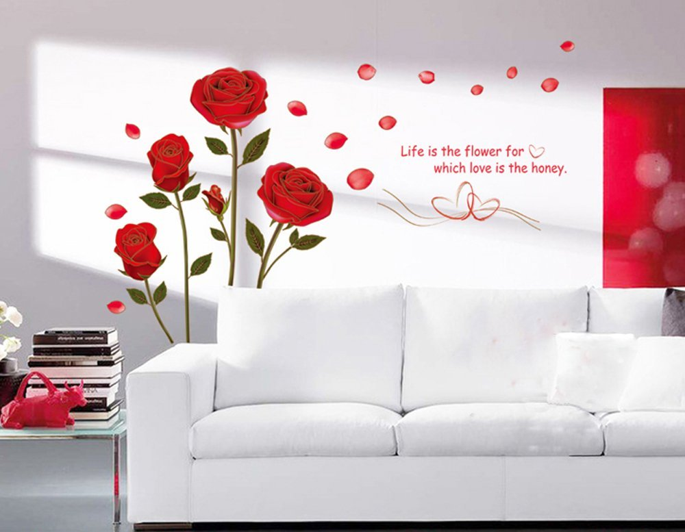 UfengkeR Romantic Red Rose Flowers Wall Decals Living Room Bedroom Removable Stickers Murals Amazoncouk Kitchen Home