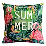 Summer Time Tropical Plant Flamingo Pillowcase Fresh Green Leaves Cushion Decorative Pillow Home Décor Sofa Throw Pillow Cover 18*18inches