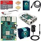 ABOX Raspberry Pi 3 B+ Desktop Kit mit 16 GB Class10 SanDisk Micro SD Karte, 3A-Netzteil mit EIN/Aus-Schalter, 2 Premium Kupfer Kühlkörper, HIMI-Kabel, Karten-Leser, Transparentes Gehäuse