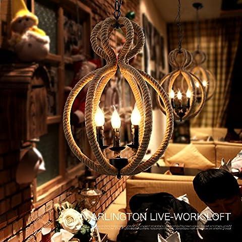 ZSQ Continental retrò creatività e individualità retrò pendente corda luce L spago luce pendente lampadario #105 - Mason Spago