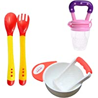 Safe-O-Kid Weaning Off Baby and Child Safety Kit, Combo, Set - Basic (6 Months Plus), Heat Sensitive Spoons, Fruit Nibbler, Food Masher Bowl (Orange) for Kids, Children, Infants or Toddlers