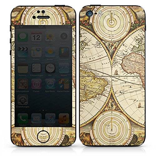 Apple iPhone SE Case Skin Sticker aus Vinyl-Folie Aufkleber Weltkarte Vintage Karte Karte DesignSkins® glänzend