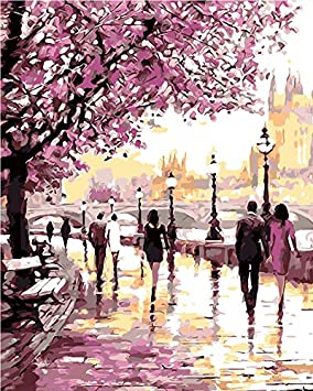 DIY Oil Painting Paint by Numbers Cherry Blossoms Park Drawing ...