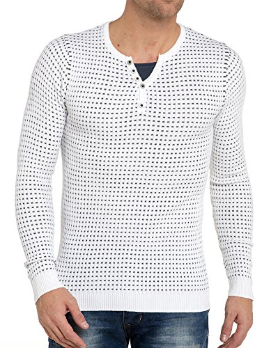 BLZ jeans - Pull double col blanc pour homme Blanc