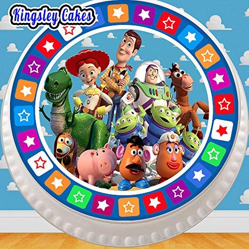 vorgeschnittenen Essbarer Zuckerguss großen Kuchen Topper–19,1cm rund Toy Story alle The Gang mit Star Bordüre (Toy Story Stand)