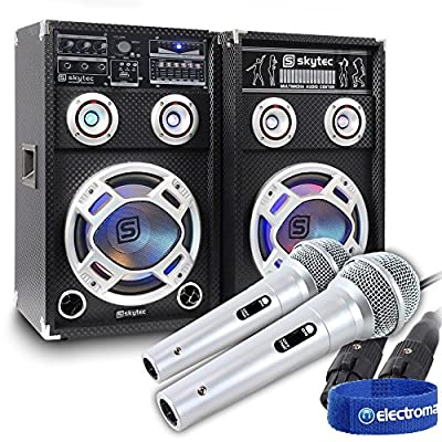 Electromarket Pair of Powered Karaoke Disco Party Speakers USB MP3 Playback and Sound-Responsive LED Lights with Microphones