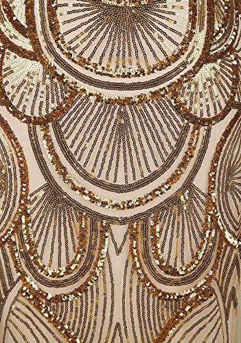 Angel-fashions Damen Paillette Tragerlos Schatz Gitter Schnuren Bankett-Kleid XXLarge Gold - 4