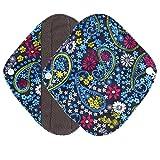 Ularma Reusable Charcoal Bamboo Mama Pads/ Menstrual Pads Cloth/ Sanitary Napkins Pad -Night time protection (S, Blue)