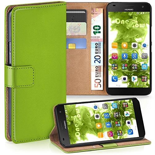 moex Huawei G7 | Hülle Grün mit Karten-Fach 360° Book Klapp-Hülle Handytasche Kunst-Leder Handyhülle für Huawei Ascend G7 Case Flip Cover Schutzhülle Tasche