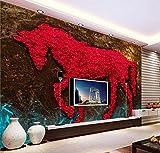 Yosot Benutzerdefinierte Hintergrundbilder Home Decoration Abstrakte Kunst Malerei Rose Junma Romantische Tv 3D Tapete-3