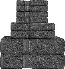 Idea Regalo - Utopia Towels - Set di asciugamani a 8 pezzi; 2 asciugamani da bagno, 2 asciugamani e 4 salviette (grigio)
