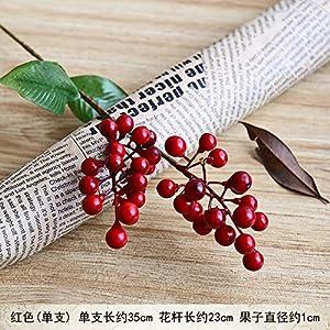 ZJJJH Flores Decorativas Artificiales Mini 2 Tenedor Fruta roja Acacia Bean simulación Floral Falsa Material de Baya Espuma Fruta plástico Fruta Ramo de Flores Artificiales Rojo. Baya.