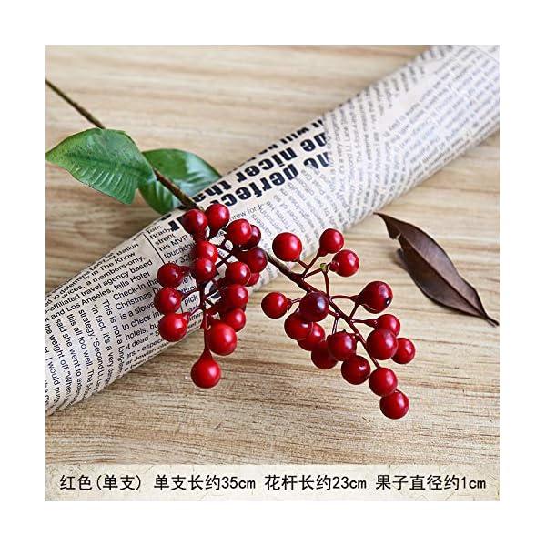 ZJJJH Flores Decorativas Artificiales Mini 2 Tenedor Fruta roja Acacia Bean simulación Floral Falsa Material de Baya…