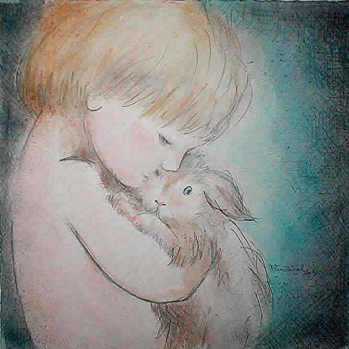 Aquarell/Wasserfarbe+Bleistift Zeichnung , Porträt eines Kindes und seines Kaninchen, Mischtechnik