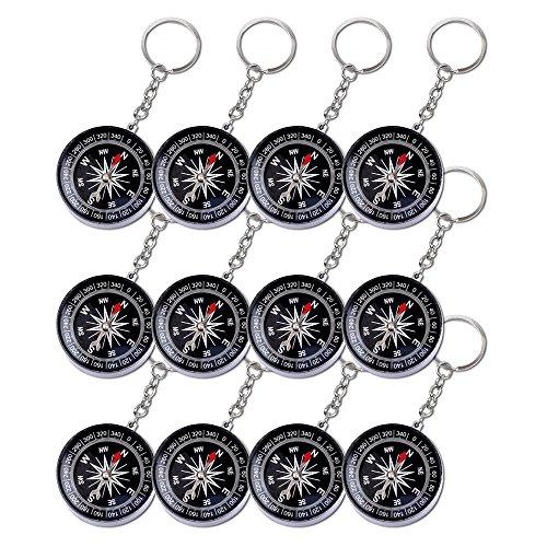 12er Pack Schlüsselanhänger Kompass mit Schlüsselkette Schlüsselring Anhänger Kindergeburtstag Mitgebsel Tombola Schlüssel Anhänger Schlüsselkette